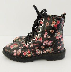 Zara Girls Floral Combat Boots Size 5/ 35 EU